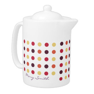Candy Polka Dot Custom Name Plum Teapot