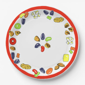 Candy, popcorn & peanuts paper plate 9 inch paper plate