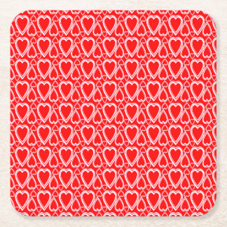 Candy Red Romantic Valentine's Day Hearts Pattern Square Paper Coaster