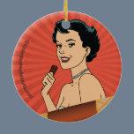 Candy Roll Girl Ceramic Ornament