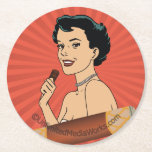 Candy Roll Girl Round Paper Coaster