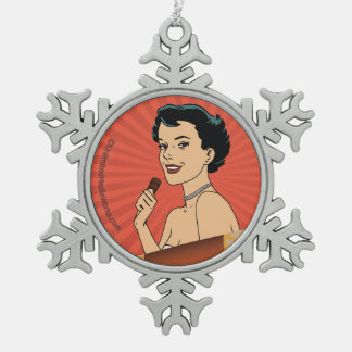 Candy Roll Girl Snowflake Pewter Christmas Ornament
