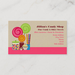 Chocolate candy business cards templates zazzle candy shop business cards colourmoves
