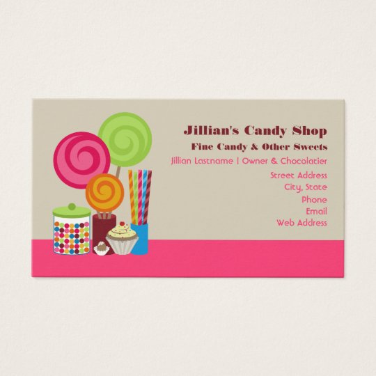 Candy shop business cards zazzlecom for Candy business cards