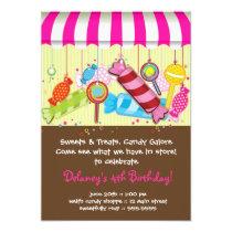 "Candy Shoppe Birthday Invitation 5"" X 7"" Invitation Card"