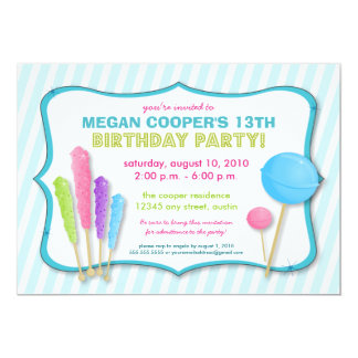 Candy Shoppe Birthday Party Invitation (blue)