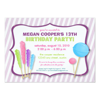 Candy Shoppe Birthday Party Invitation (purple)