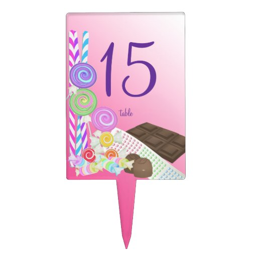 Candy Shoppe Table Number Rectangular Cake Pick