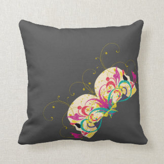 Candy skulls, floral, mandala style (version 2) throw pillow