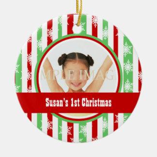 Candy snowflake photo personalize ceramic ornament
