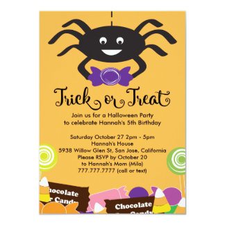 Candy Spider Halloween Birthday Party 4.5x6.25 Paper Invitation Card
