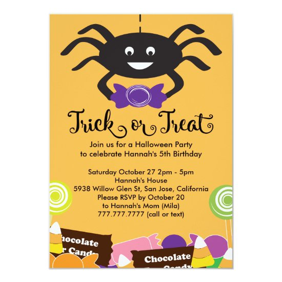 Candy Spider Halloween Birthday Party Invitation