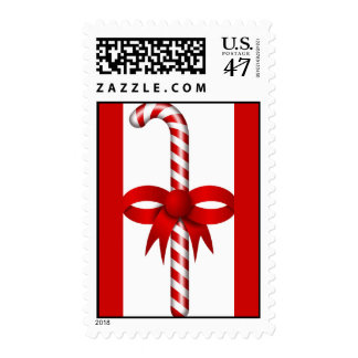 candy_stick Red White CandyCane Postage