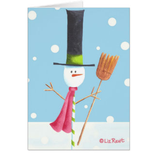 Candy-Stick Snowman with Broom - By Liz Revit Card
