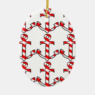 Candy Stripe Anchor Ceramic Ornament