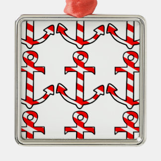 Candy Stripe Anchor Metal Ornament