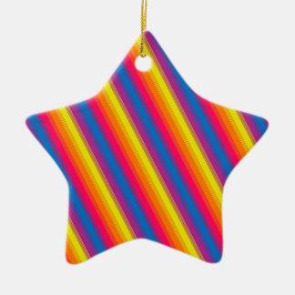 Candy Stripe Bright Rainbow Ceramic Ornament
