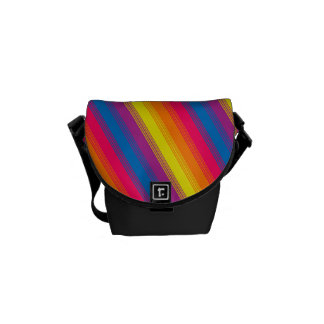 Candy Stripe Bright Rainbow Messenger Bag