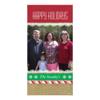 Candy Stripe Burlap Lace Ornaments Photo Card