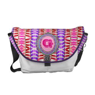 Candy Stripe Monogram Messenger Bag