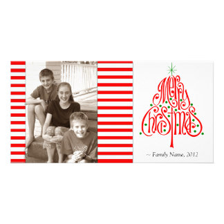 Candy Stripe Photo Christmas Card