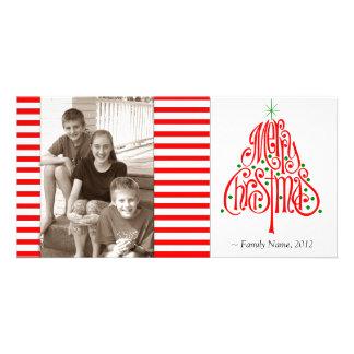 Candy Stripe Photo Christmas Card