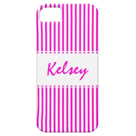Candy Stripe Pink with Name iPhone SE/5/5s Case