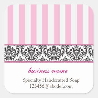 Candy stripe product label square sticker