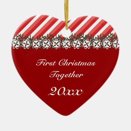 Candy Stripe Red First Christmas Ornament