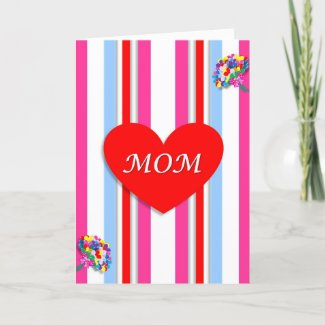 Candy Stripe Red Heart Mother's Day Card