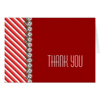 Candy Stripe Red Holiday Party Thank You Card