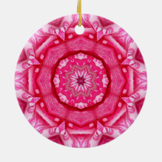 Candy Stripe Rose Ceramic Ornament