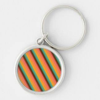 Candy Stripe Summer Teal Keychain