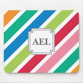 Candy Stripe Thick Diagonal - Edit the Text Mouse Pad