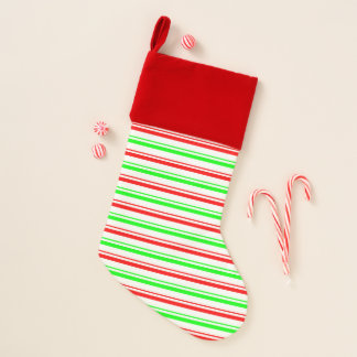 Candy Stripe Velvet Lined Christmas Stocking