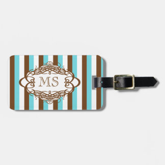 Candy stripe vintage monogram bag tag