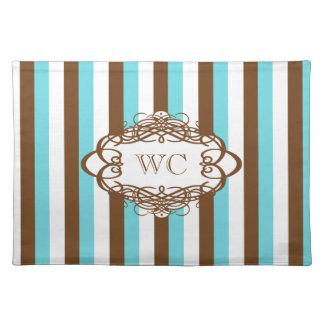 Candy stripe vintage monogram cloth placemat