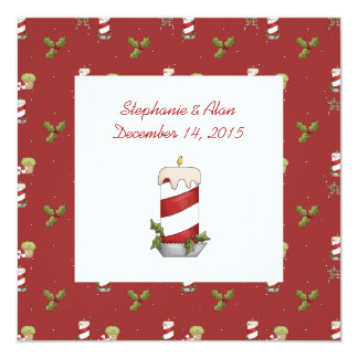 Candy Striped Candle Wedding Invitation