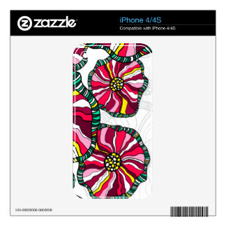 Candy Striped Flowers  Zazzle Skin Decals For iPhone 4