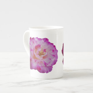 Candy striped pink rose tea cup