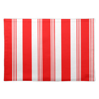 Candy striped placemat shown in cardinal red