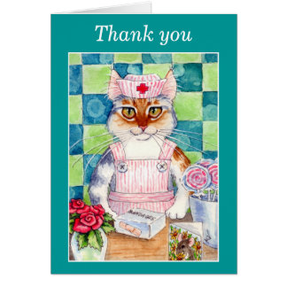 Candy striper nurse cat Thank-you card