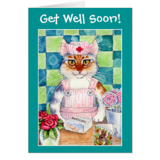 Candy striper nurse cat wishes Get Well Soon! Greeting Card