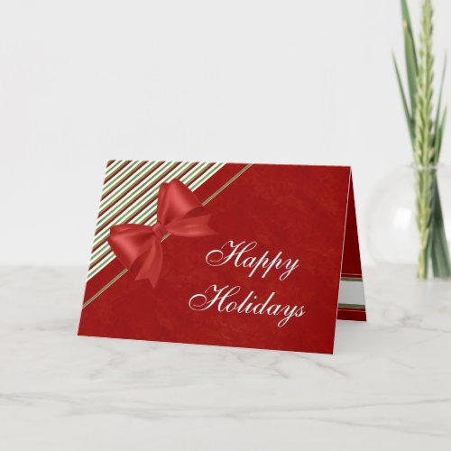 Candy Stripes and Bows Happy Holidays Holiday Card