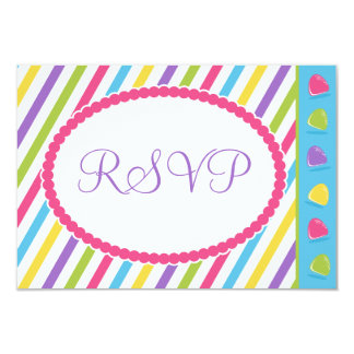 Candy Stripes Bat Mitzvah RSVP Card