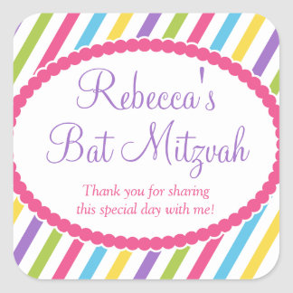 Candy Stripes Bat Mitzvah Square Sticker