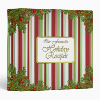 Candy Stripes Christmas or Holiday Recipe Binder