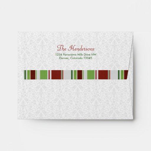 Candy Stripes Damask Xmas or Holiday A-2 envelopes