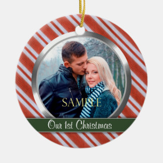 Candy Stripes First Christmas Photo Template Ceramic Ornament