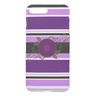 Candy Stripes & flower Purple iPhone 7 Plus Case